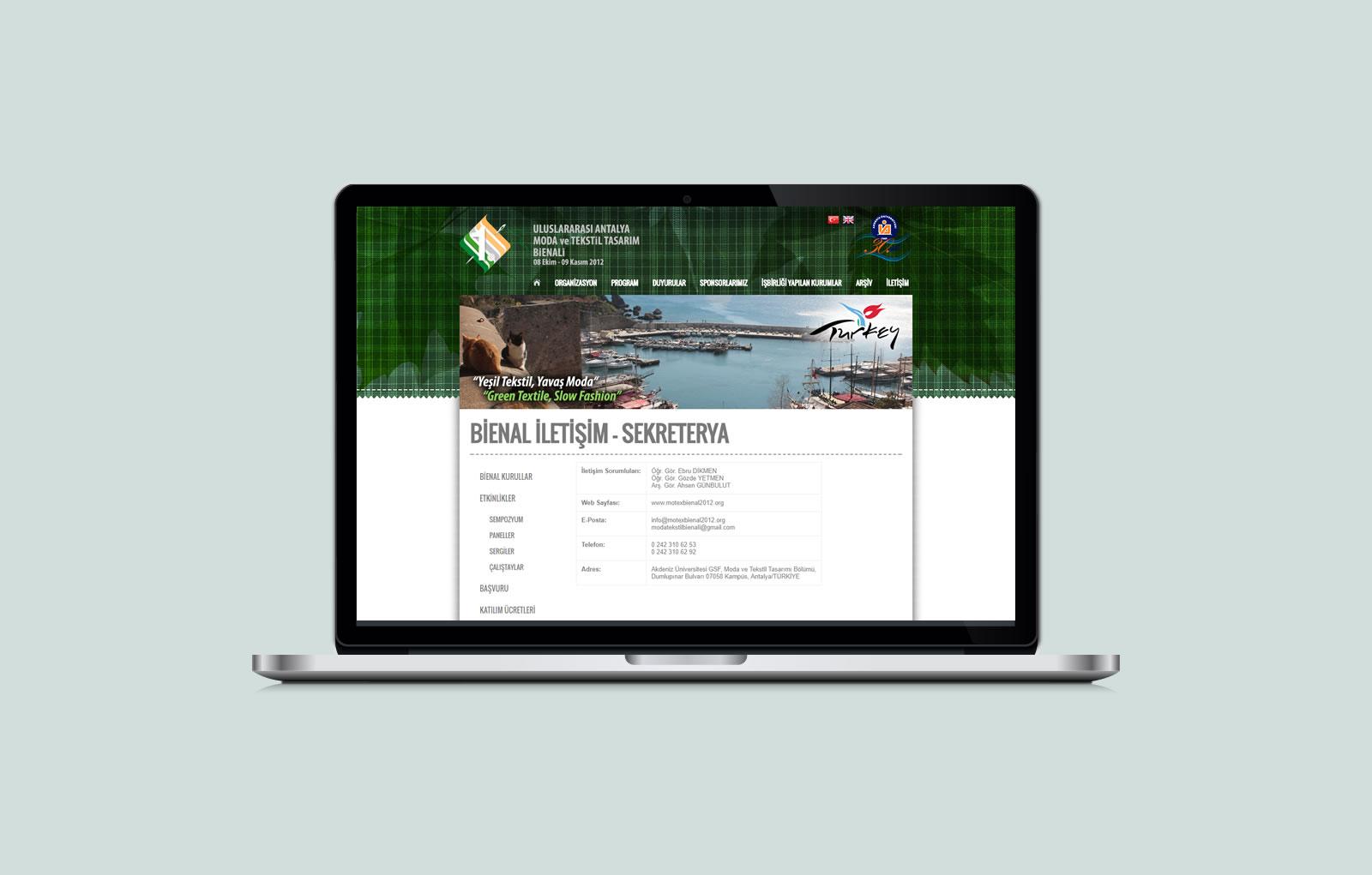 1. Uluslararası Antalya Moda ve Tekstil Tasarım Bienali / Web Sitesi Tasarımı